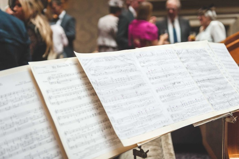 music score from a wedding reception at Oulton Hall in Yorkshire
