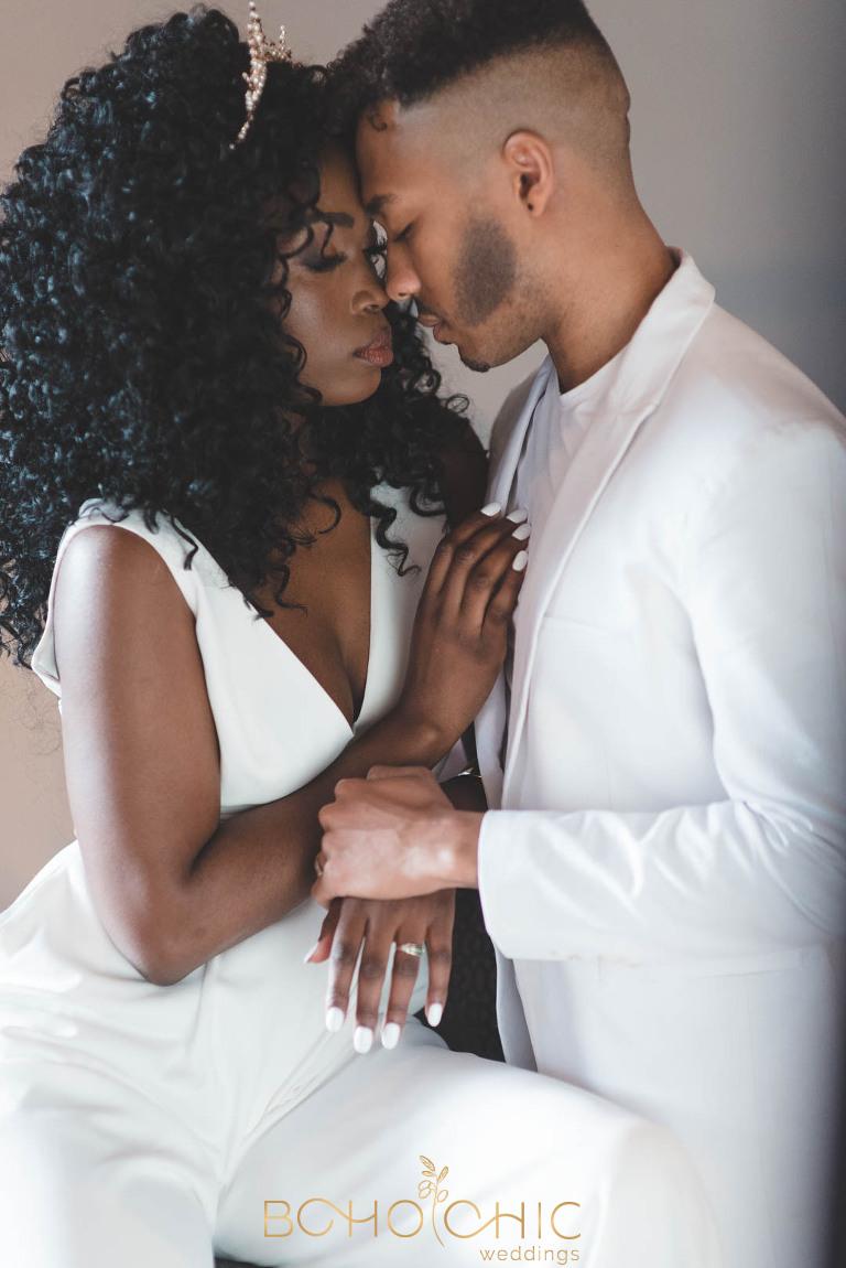 beautiful african wedding couple looking very in love