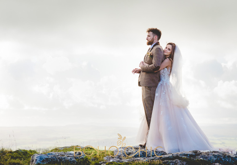 natural romantic wedding photograph of a couple on the Yorkshire moors