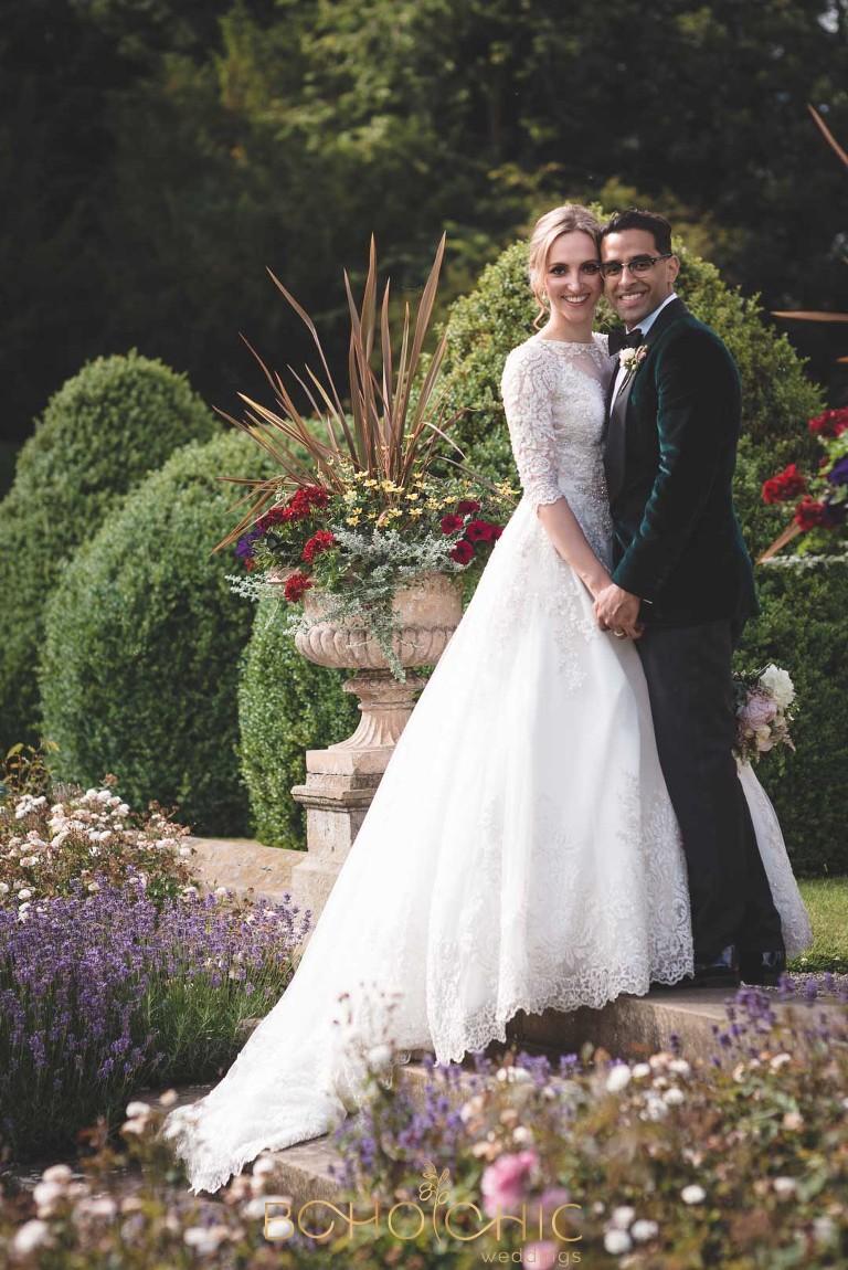 bride and groom on their wedding day goldsborough hall a north yorkshire wedding venue