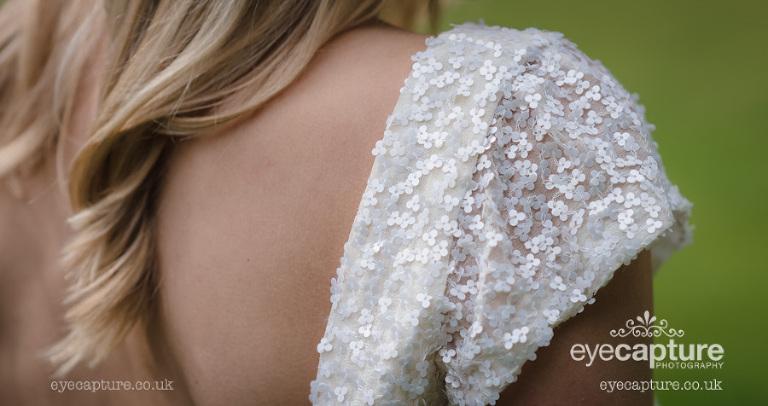 sequin wedding dress in white