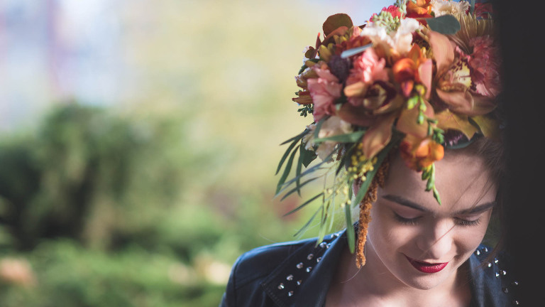 natural wedding photograph of a bride with autumn colours