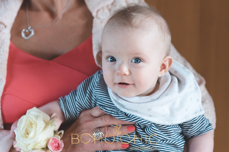 professional colour photograph of a baby guest at a north yorkshire wedding photographed by female wedding photographer