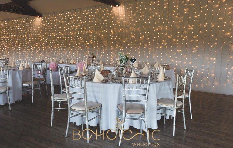 The yorkshire wedding barn in Richmond North Yorkshire set up for a wedding breakfast