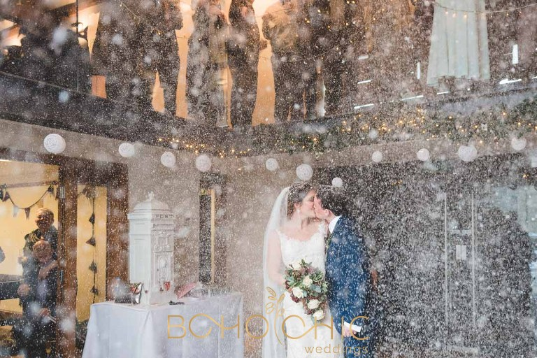 priory cottages wedding photography showing the confetti throwing