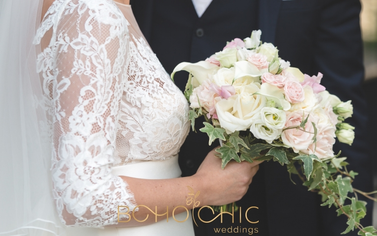 soft white and pale pink wedding bouquet