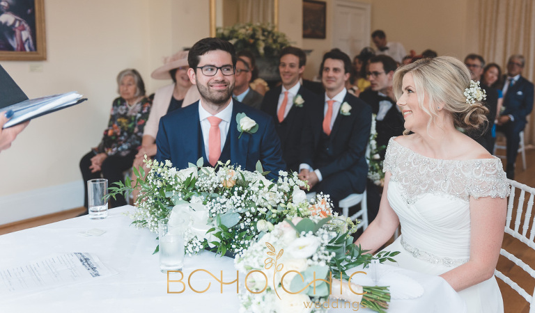 colour photograph of a couple just seeing each other on their wedding day at their wedding venue in richmond surrey