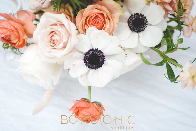 winter wedding flowers in orange peach and white