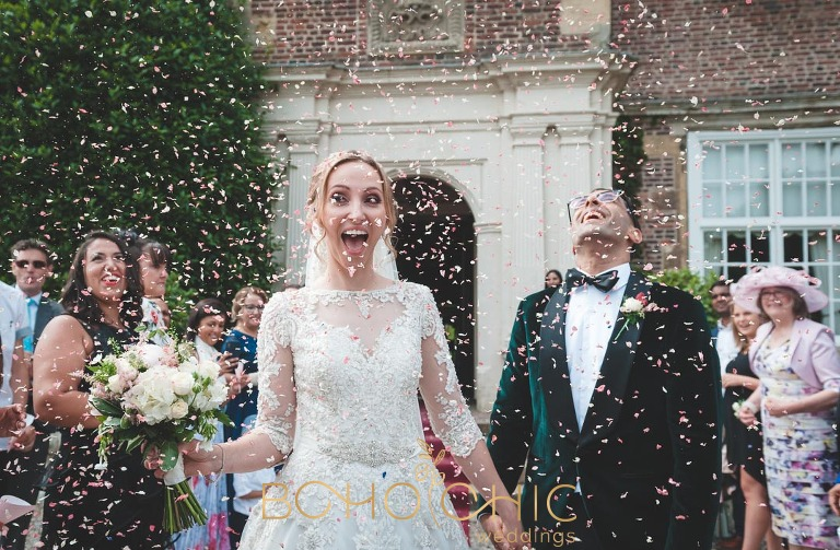 confetti at a goldsborough hall wedding in north yorkshire