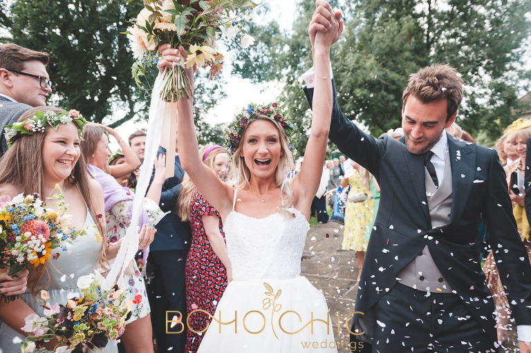 yorkshire dales wedding photographer shows a confetti picture