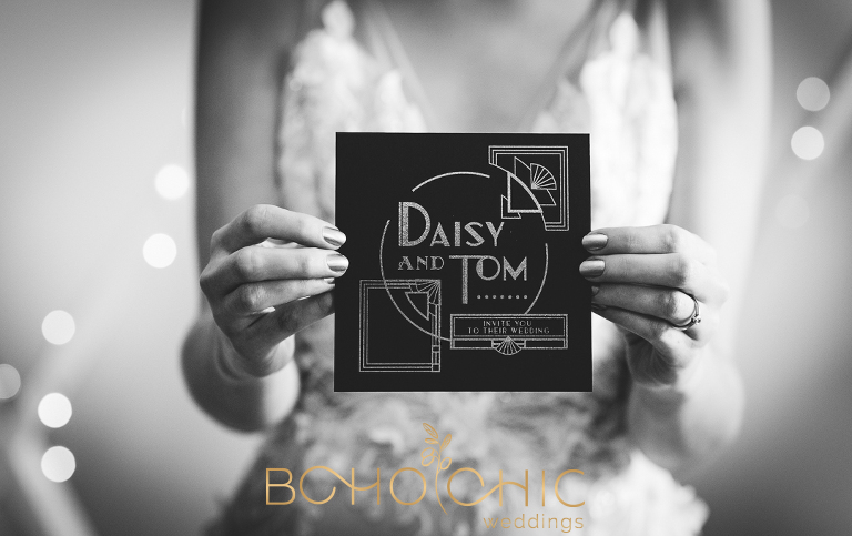 black and white photograph of a 1930s style wedding invitation